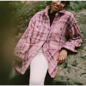 Anthropologie Hudson Plaid Shirt Jacket Purple S